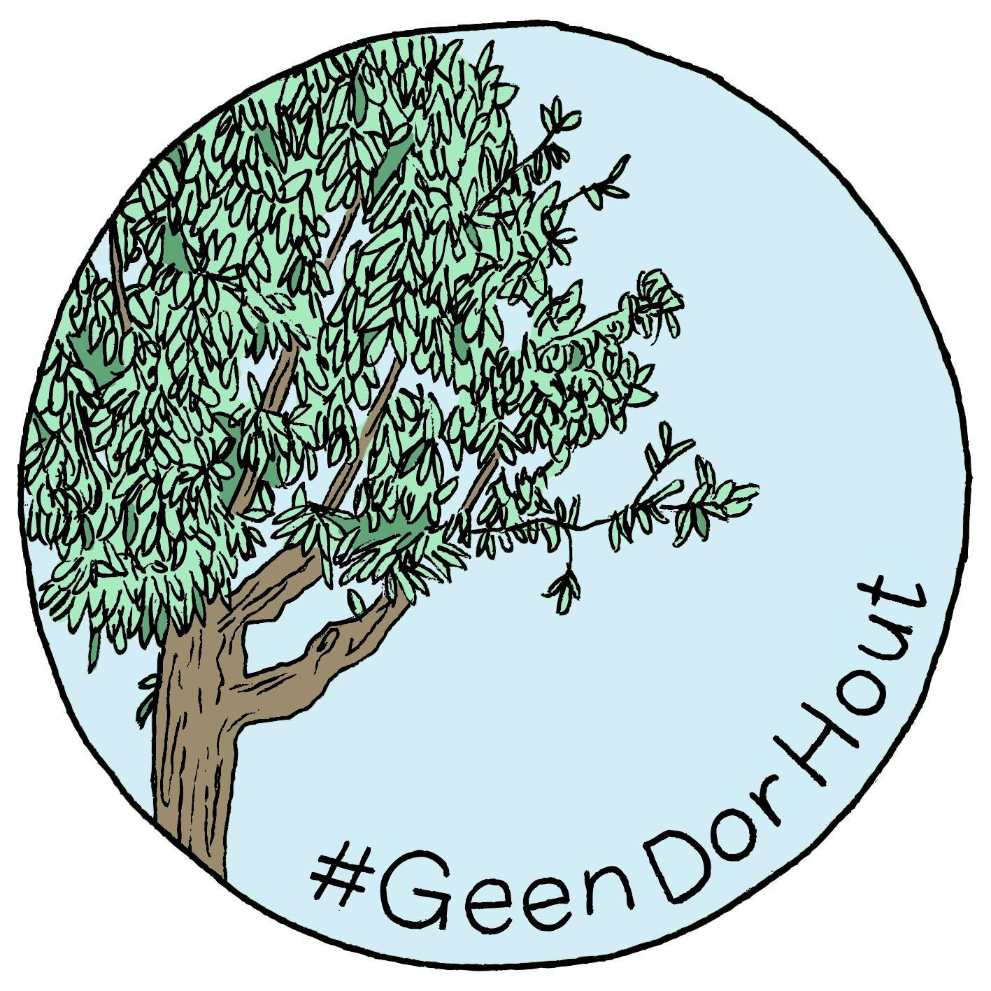Logo van Geen Dor Hout. Een lichtblauwe cirkel op witte achtergrond. Links in de cirkel staat een boom met lichtbruine stam en takken en groene bladeren. Rechtsonder aan de rand van de cirkel staat #GeenDorHout