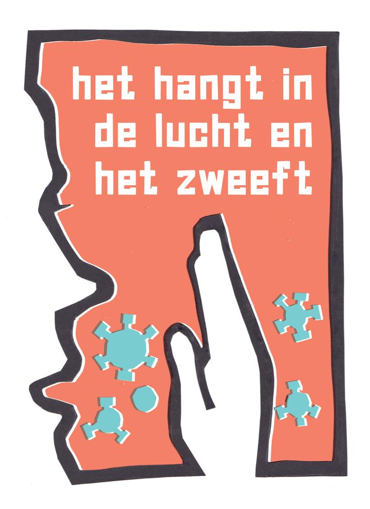 """[ID: Poster nummer 2. Een poster met een rode achtergrond, en de tekst """"het hangt in de lucht en het zweeft"""". Aan de linkerkant is het profiel van een gezicht te zien van iemand die hoest. Rechts van het midden een hand, en daartussenin een paar zwevende virusdeeltjes.] Verwaarlozing van risico's en ontkrachte aannames De aannames achter het Nederlandse beleid gaan in tegen internationaal geaccepteerde inzichten over dit virus - over verspreiding en risico's, en hoe effectieve maatregelen eruitzien. Jaap van Dissel geeft met zoveel woorden toe, dat """"als we de rol van aerosolen zouden erkennen, we veel grondiger maatregelen zouden moeten nemen"""". Die maatregelen zijn nodig. Het kabinet heeft in het najaar het OMT 'overtuigd' geen scholensluiting te adviseren. We hebben recht op voorzorg en adequate kennis die niet politiek 'gestuurd' wordt."""
